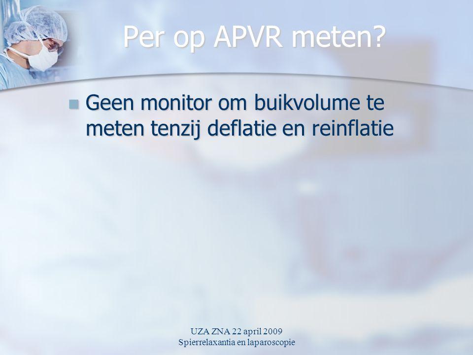 UZA ZNA 22 april 2009 Spierrelaxantia en laparoscopie Per op APVR meten? Geen monitor om buikvolume te meten tenzij deflatie en reinflatie Geen monito
