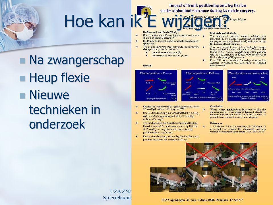 UZA ZNA 22 april 2009 Spierrelaxantia en laparoscopie Hoe kan ik E wijzigen.