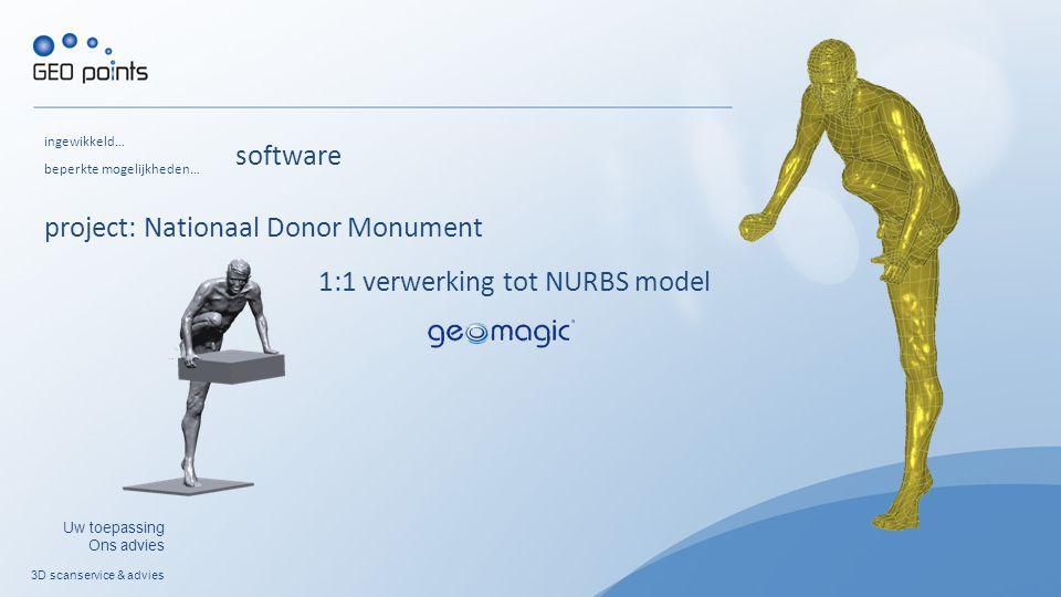3D scanservice & advies Uw toepassing Ons advies ingewikkeld… beperkte mogelijkheden… software 1:1 verwerking tot NURBS model project: Nationaal Donor Monument