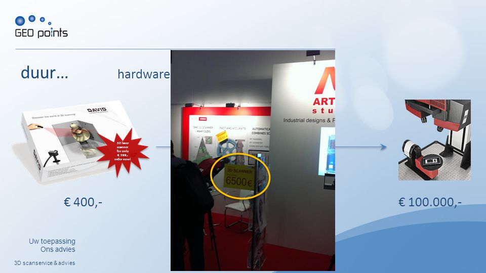 3D scanservice & advies Uw toepassing Ons advies duur… hardware 3D laser scanner for only € 399,- order now! € 400,- € 17.500,- € 100.000,-