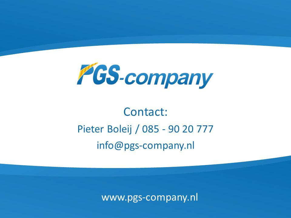 Contact: Pieter Boleij / 085 - 90 20 777 info@pgs-company.nl www.pgs-company.nl