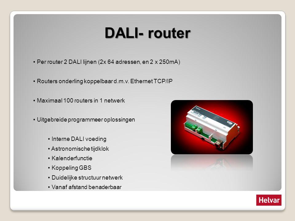 DALI- router Per router 2 DALI lijnen (2x 64 adressen, en 2 x 250mA) Routers onderling koppelbaar d.m.v. Ethernet TCP/IP Maximaal 100 routers in 1 net