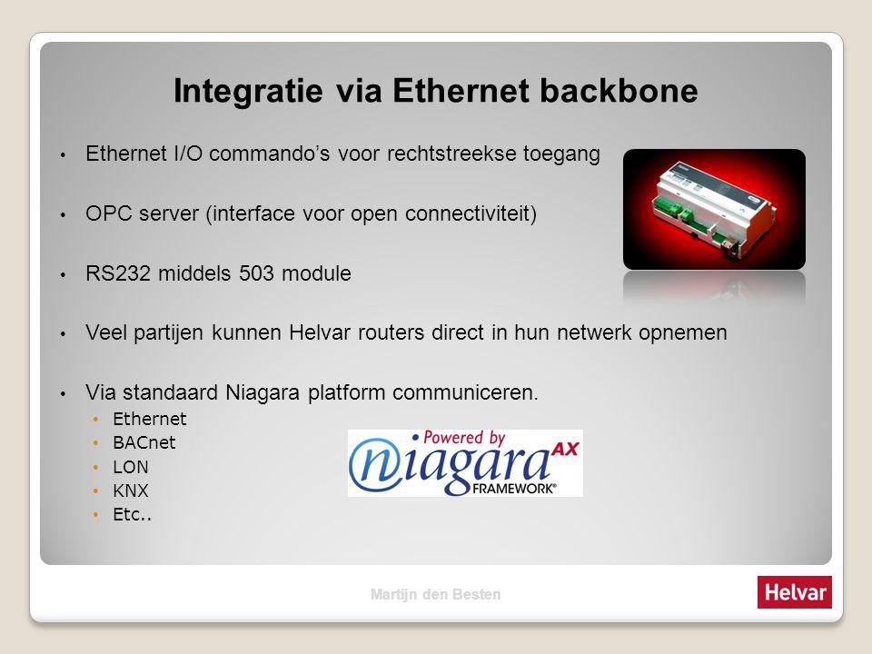 Integratie via Ethernet backbone Ethernet I/O commando's voor rechtstreekse toegang OPC server (interface voor open connectiviteit) RS232 middels 503