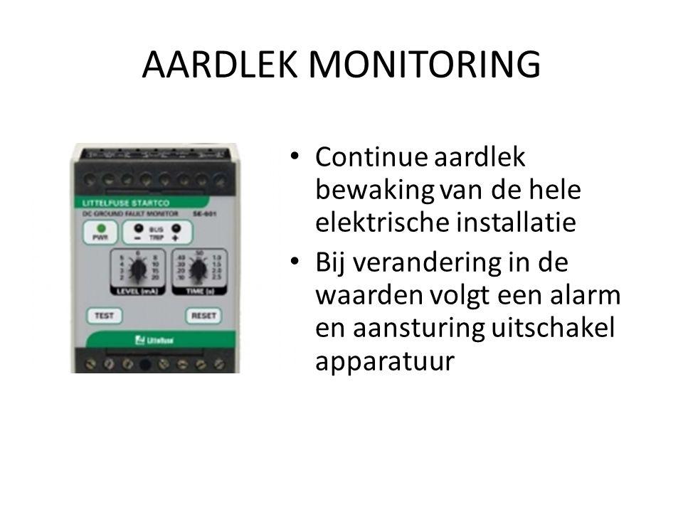 AARDLEK MONITORING Continue aardlek bewaking van de hele elektrische installatie Bij verandering in de waarden volgt een alarm en aansturing uitschake