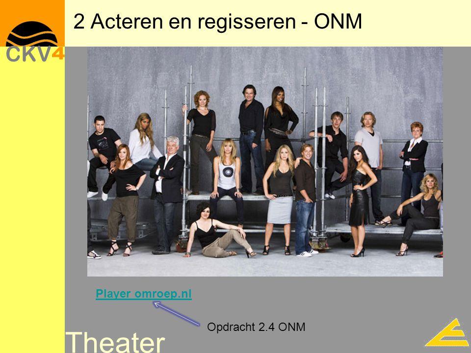 Theater 2 Acteren en regisseren - ONM Player omroep.nl Opdracht 2.4 ONM