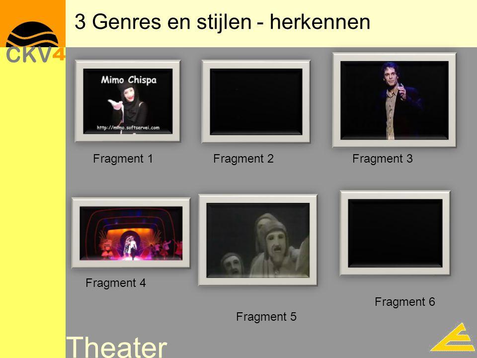 Theater 3 Genres en stijlen - herkennen Fragment 1Fragment 2Fragment 3 Fragment 4 Fragment 5 Fragment 6
