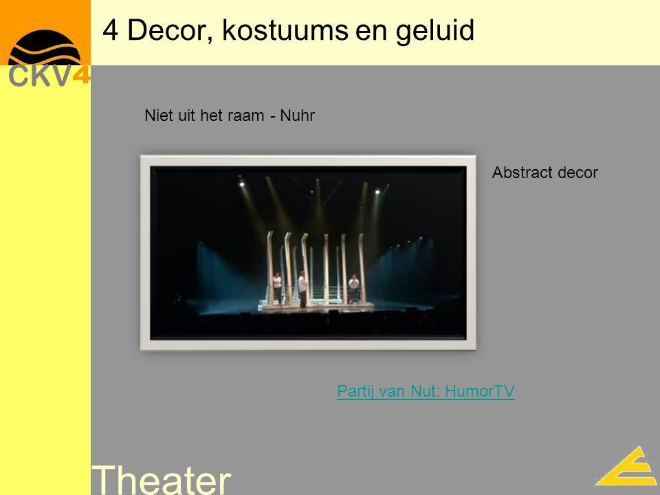 4 Decor, kostuums en geluid Theater Niet uit het raam - Nuhr Abstract decor Partij van Nut: HumorTV