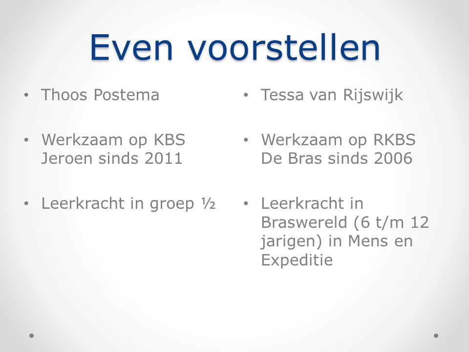 Even voorstellen Tessa van Rijswijk Werkzaam op RKBS De Bras sinds 2006 Leerkracht in Braswereld (6 t/m 12 jarigen) in Mens en Expeditie Thoos Postema