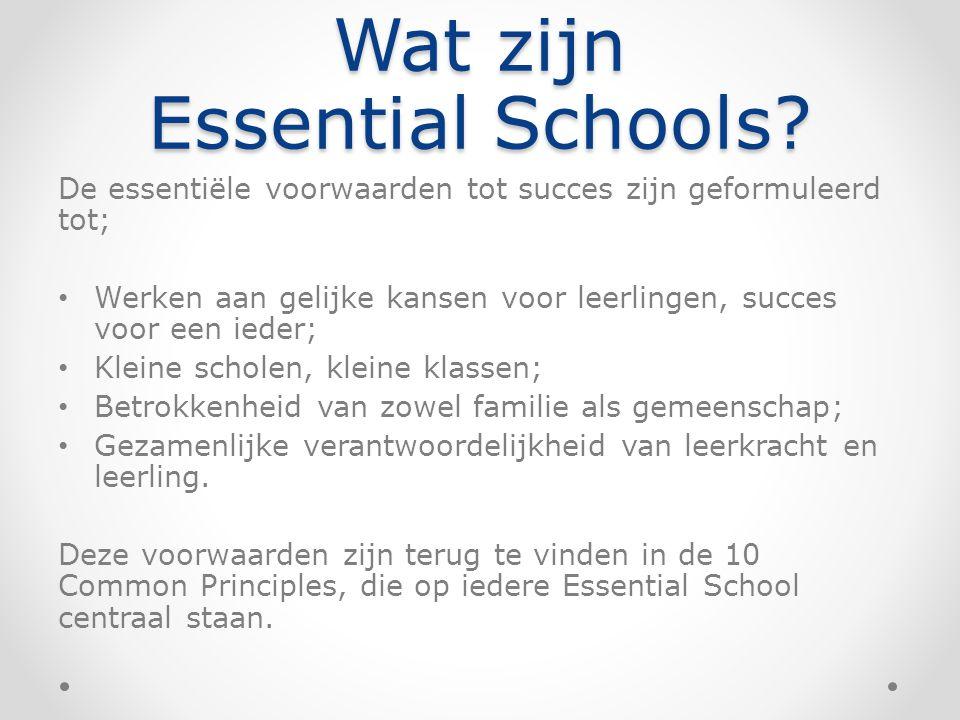 Wat zijn Essential Schools? De essentiële voorwaarden tot succes zijn geformuleerd tot; Werken aan gelijke kansen voor leerlingen, succes voor een ied