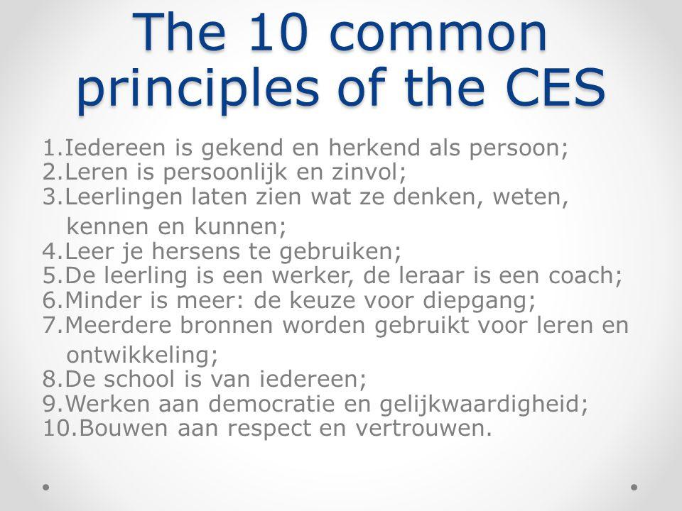 The 10 common principles of the CES 1.Iedereen is gekend en herkend als persoon; 2.Leren is persoonlijk en zinvol; 3.Leerlingen laten zien wat ze denk