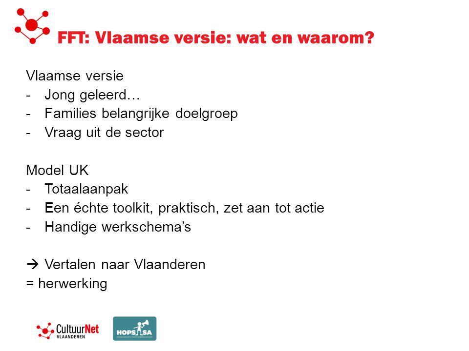 FFT: Vlaamse versie: wat en waarom? Vlaamse versie -Jong geleerd… -Families belangrijke doelgroep -Vraag uit de sector Model UK -Totaalaanpak -Een éch