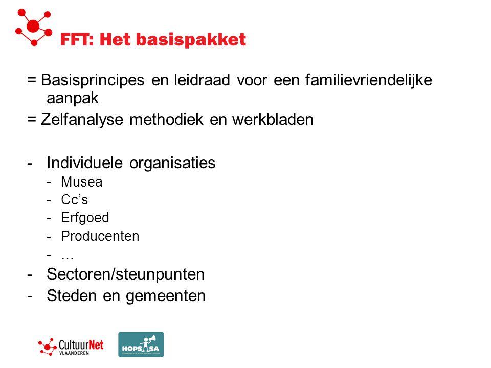 FFT: Het basispakket = Basisprincipes en leidraad voor een familievriendelijke aanpak = Zelfanalyse methodiek en werkbladen -Individuele organisaties