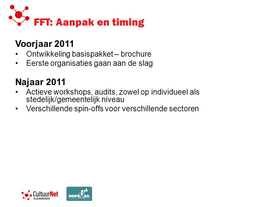 FFT: Aanpak en timing Voorjaar 2011 Ontwikkeling basispakket – brochure Eerste organisaties gaan aan de slag Najaar 2011 Actieve workshops, audits, zo