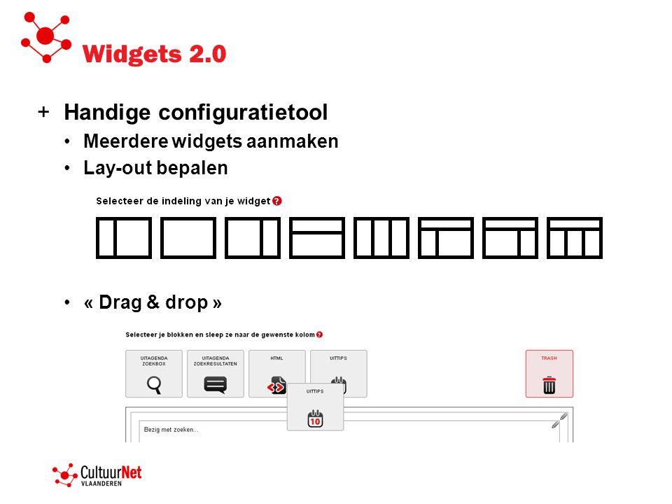 Widgets 2.0 +Handige configuratietool Meerdere widgets aanmaken Lay-out bepalen « Drag & drop »