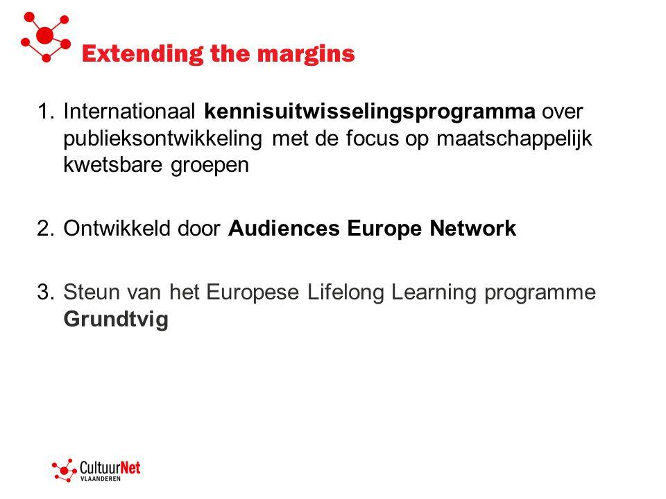 1.Internationaal kennisuitwisselingsprogramma over publieksontwikkeling met de focus op maatschappelijk kwetsbare groepen 2.Ontwikkeld door Audiences
