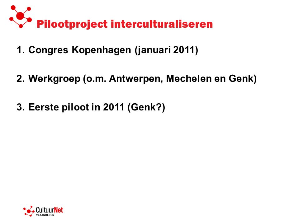 Pilootproject interculturaliseren 1.Congres Kopenhagen (januari 2011) 2.Werkgroep (o.m.