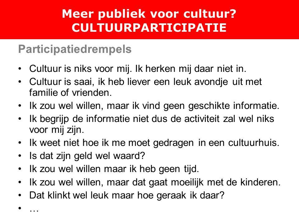 Meer publiek voor cultuur. CULTUURPARTICIPATIE Participatiedrempels Cultuur is niks voor mij.