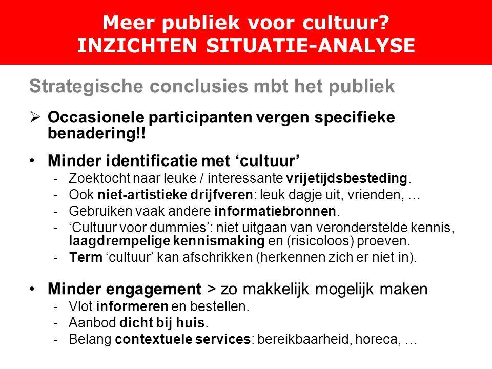 Strategische conclusies mbt het publiek  Occasionele participanten vergen specifieke benadering!.