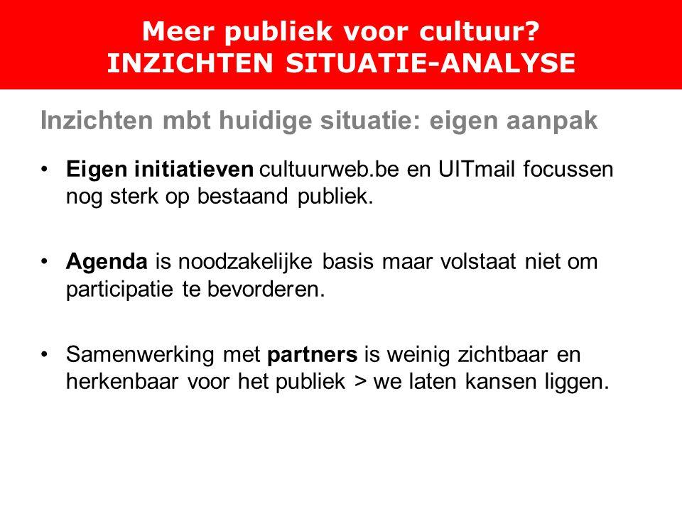 Inzichten mbt huidige situatie: eigen aanpak Eigen initiatieven cultuurweb.be en UITmail focussen nog sterk op bestaand publiek.
