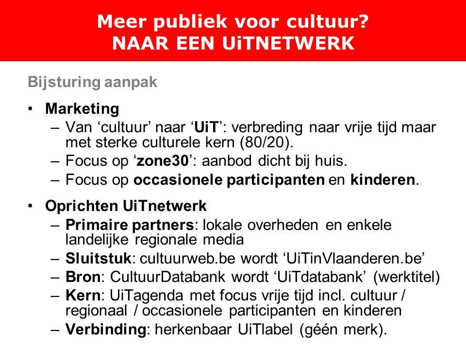 Bijsturing aanpak Marketing –Van 'cultuur' naar 'UiT': verbreding naar vrije tijd maar met sterke culturele kern (80/20).