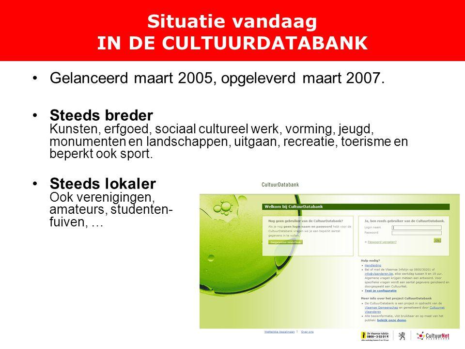 Situatie vandaag IN DE CULTUURDATABANK Gelanceerd maart 2005, opgeleverd maart 2007.