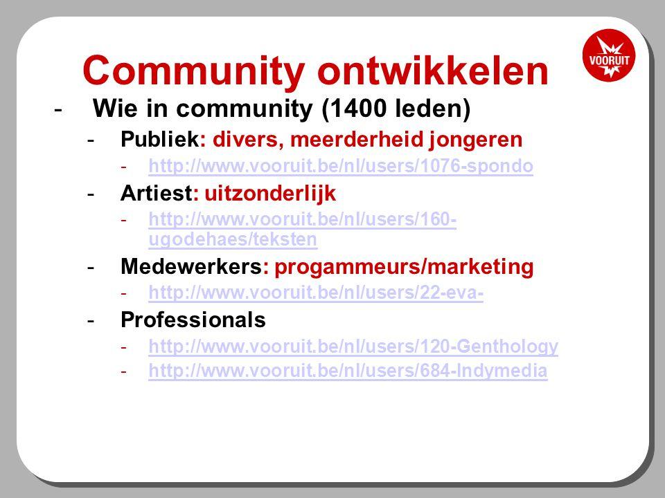 Community ontwikkelen -Wie in community (1400 leden) -Publiek: divers, meerderheid jongeren -http://www.vooruit.be/nl/users/1076-spondohttp://www.vooruit.be/nl/users/1076-spondo -Artiest: uitzonderlijk -http://www.vooruit.be/nl/users/160- ugodehaes/tekstenhttp://www.vooruit.be/nl/users/160- ugodehaes/teksten -Medewerkers: progammeurs/marketing -http://www.vooruit.be/nl/users/22-eva-http://www.vooruit.be/nl/users/22-eva- -Professionals -http://www.vooruit.be/nl/users/120-Genthologyhttp://www.vooruit.be/nl/users/120-Genthology -http://www.vooruit.be/nl/users/684-Indymediahttp://www.vooruit.be/nl/users/684-Indymedia