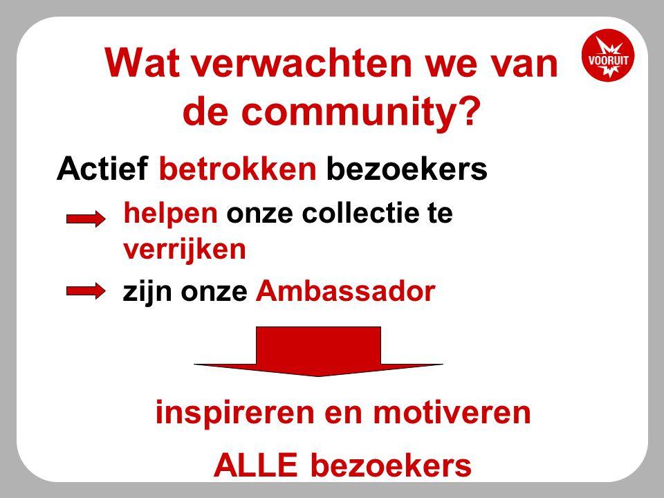 Activiteit van de community -Kalender is meest gebruikte tool -http://www.vooruit.be/nl/users/11-karenhttp://www.vooruit.be/nl/users/11-karen -Aard van reacties -Praktisch (tickets vervoer) -Klachten -(sigur ros) http://www.vooruit.be/nl/productions/1281/reactionshttp://www.vooruit.be/nl/productions/1281/reactions -Oproepen -(short films) http://www.vooruit.be/nl/productions/1225/reactionshttp://www.vooruit.be/nl/productions/1225/reactions -Recencies/tips (bitterzoet/Volker Gerling) -http://www.vooruit.be/nl/productions/1016/reactionshttp://www.vooruit.be/nl/productions/1016/reactions -http://www.vooruit.be/nl/productions/1224/reactionshttp://www.vooruit.be/nl/productions/1224/reactions