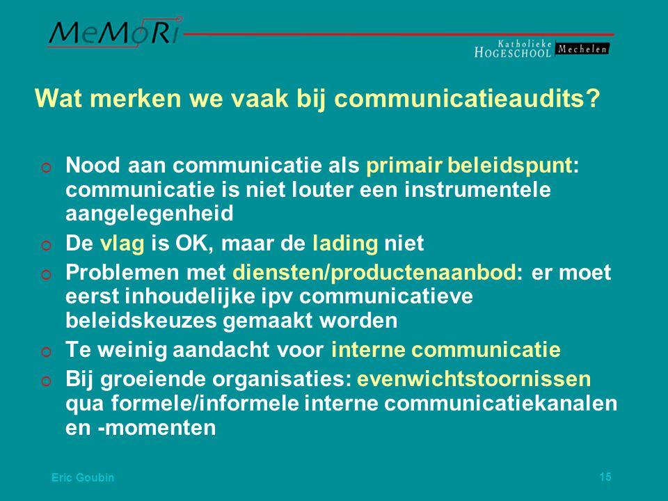 Eric Goubin15 Wat merken we vaak bij communicatieaudits.