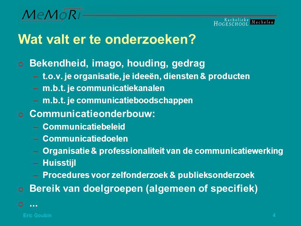 Eric Goubin5   Bereik van doelgroepen (algemeen of specifiek)   Communicatiekanalen: – –Adequaatheid van de mediamix – –Kwaliteiten van je communicatiekanalen   Interne Communicatie   Externe Communicatie   Tweerichtingscommunicatie   Onthaal   Richtlijnen voor crisiscommunicatie  ...