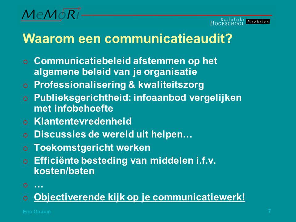 Eric Goubin8   => Nood aan en objectiverende kijk op je communicatiewerk.