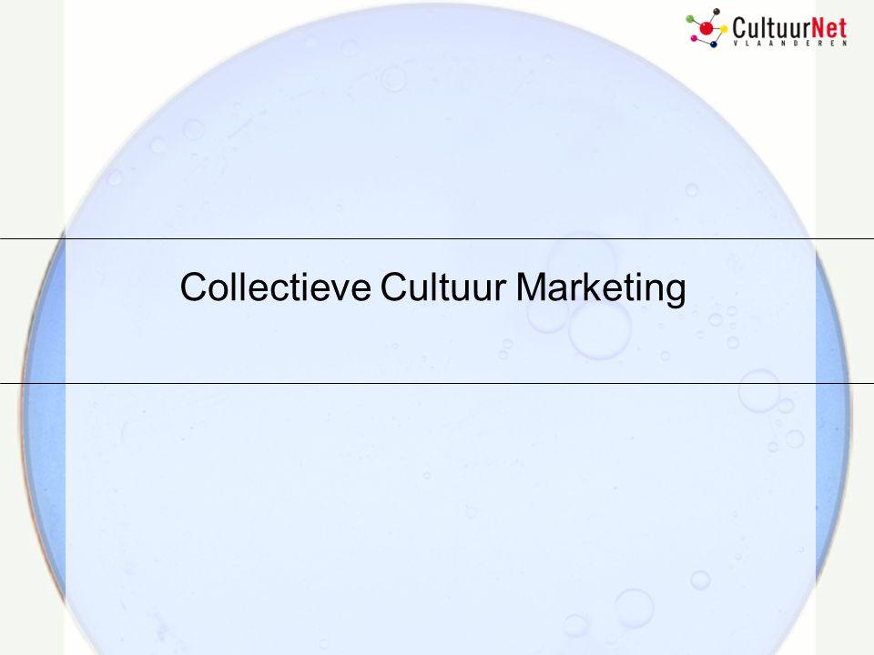 Ondersteunende werking Objectieven: ontwikkeling van basisinstrumenten voor instellingoverschrijdende marketing Database aanbod Database consumenten Overlegstructuren