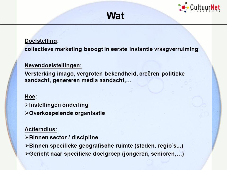 Kader cultuurcommunicatie Informeren promotie voeren publiek werven …….