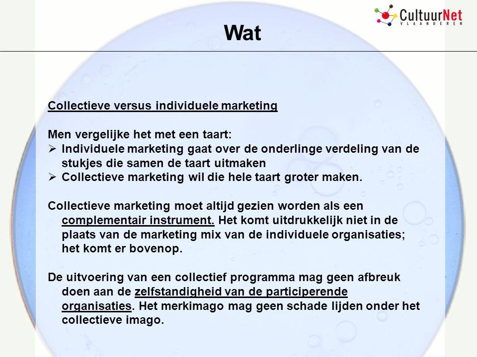 Database van het aanbod Overall coördinatie Kader cultuurcommunicatie