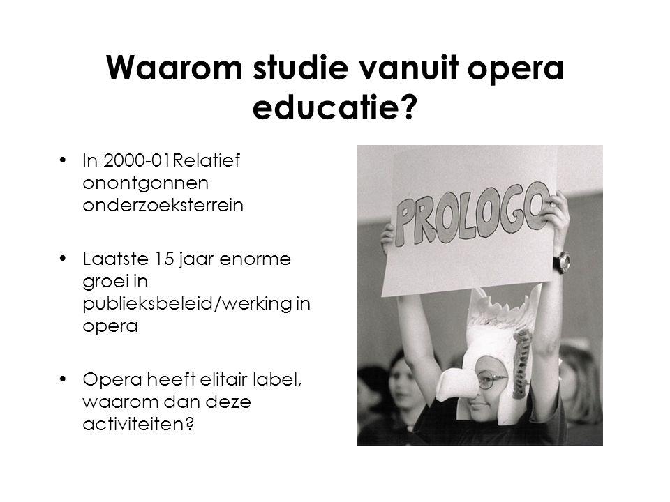 Waarom studie vanuit opera educatie.