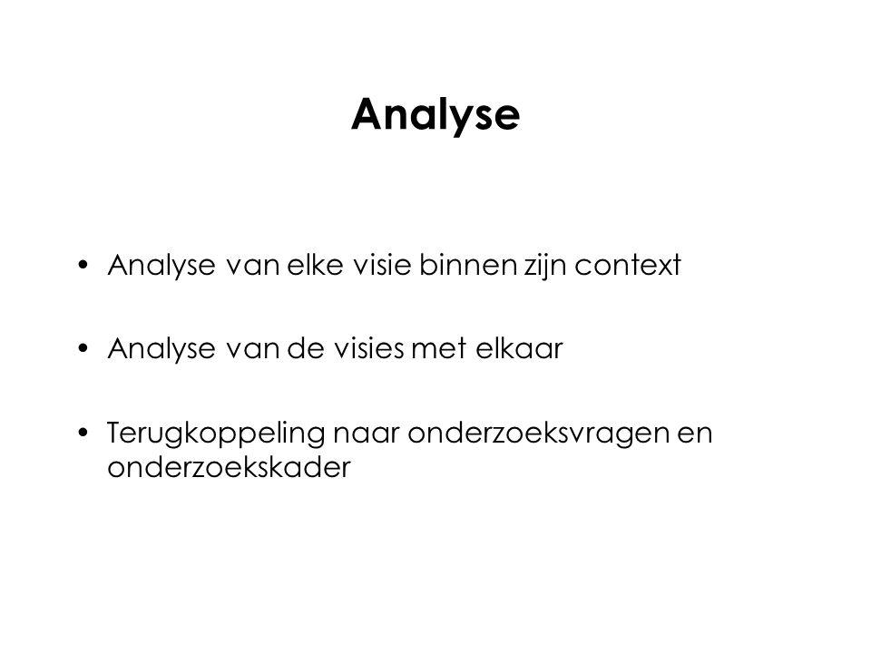 Analyse van elke visie binnen zijn context Analyse van de visies met elkaar Terugkoppeling naar onderzoeksvragen en onderzoekskader