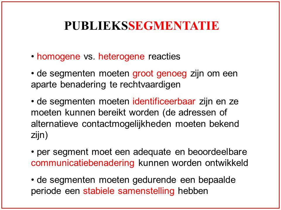 PUBLIEKSSEGMENTATIE homogene vs. heterogene reacties de segmenten moeten groot genoeg zijn om een aparte benadering te rechtvaardigen de segmenten moe