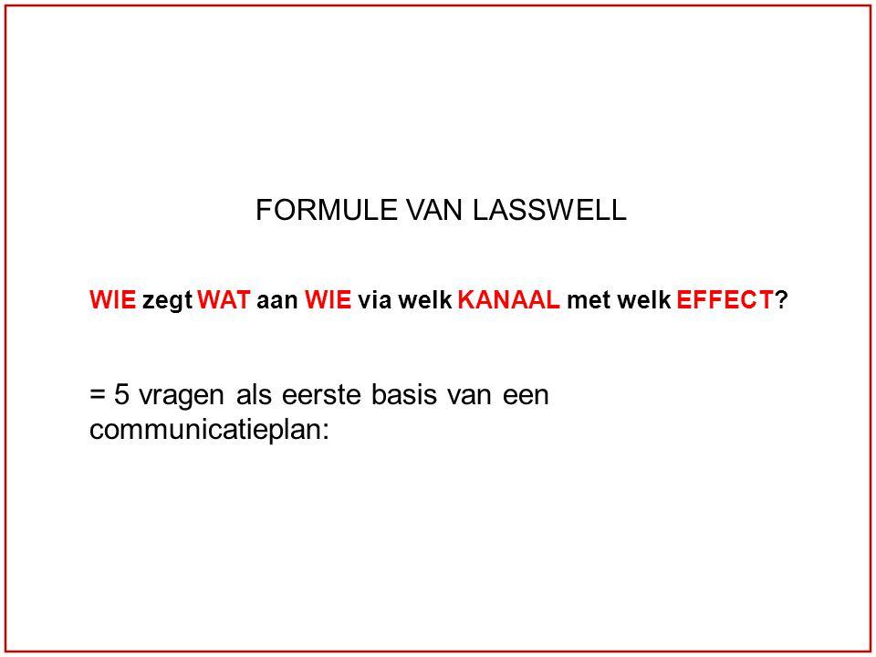 FORMULE VAN LASSWELL WIE zegt WAT aan WIE via welk KANAAL met welk EFFECT? = 5 vragen als eerste basis van een communicatieplan: