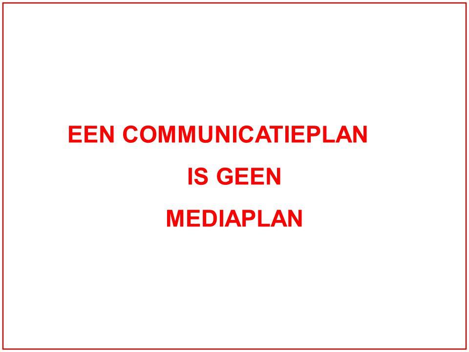 EEN COMMUNICATIEPLAN IS GEEN MEDIAPLAN