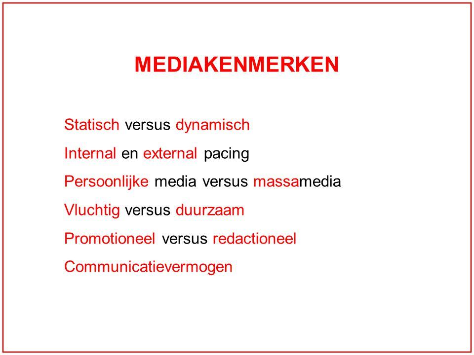 MEDIAKENMERKEN Statisch versus dynamisch Internal en external pacing Persoonlijke media versus massamedia Vluchtig versus duurzaam Promotioneel versus redactioneel Communicatievermogen