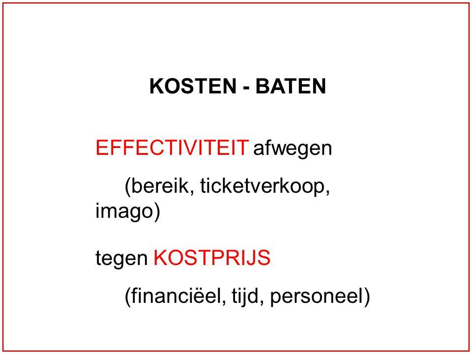 KOSTEN - BATEN EFFECTIVITEIT afwegen (bereik, ticketverkoop, imago) tegen KOSTPRIJS (financiëel, tijd, personeel)