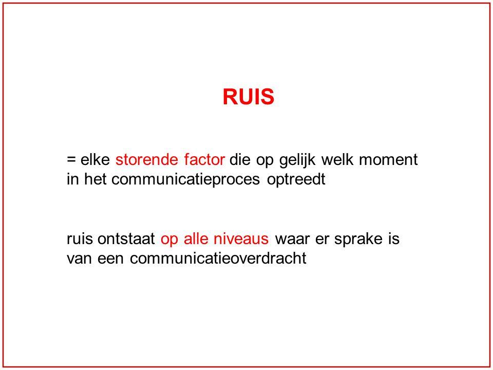 RUIS = elke storende factor die op gelijk welk moment in het communicatieproces optreedt ruis ontstaat op alle niveaus waar er sprake is van een commu