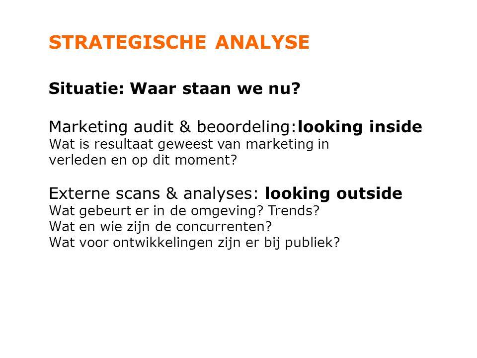 STRATEGISCHE ANALYSE Situatie: Waar staan we nu? Marketing audit & beoordeling:looking inside Wat is resultaat geweest van marketing in verleden en op