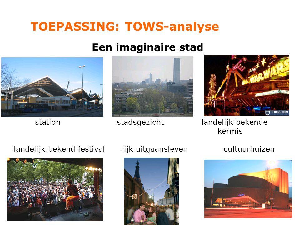 TOEPASSING: TOWS-analyse Een imaginaire stad station stadsgezicht landelijk bekende kermis landelijk bekend festival rijk uitgaanslevencultuurhuizen
