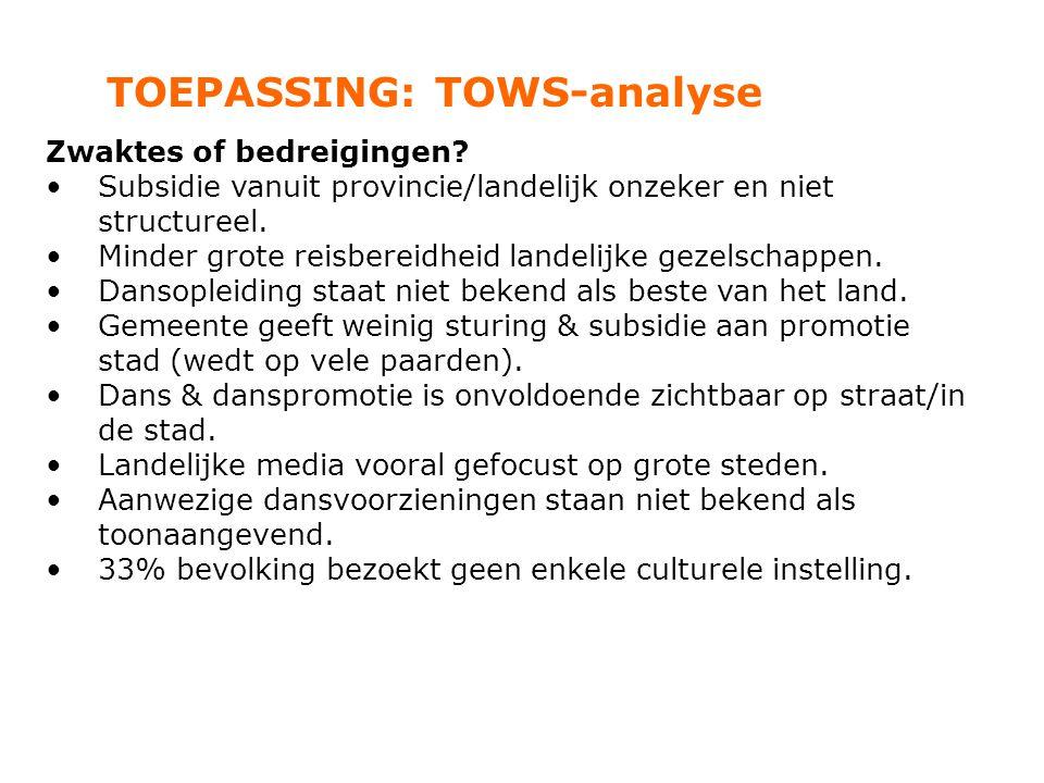 TOEPASSING: TOWS-analyse Zwaktes of bedreigingen? Subsidie vanuit provincie/landelijk onzeker en niet structureel. Minder grote reisbereidheid landeli