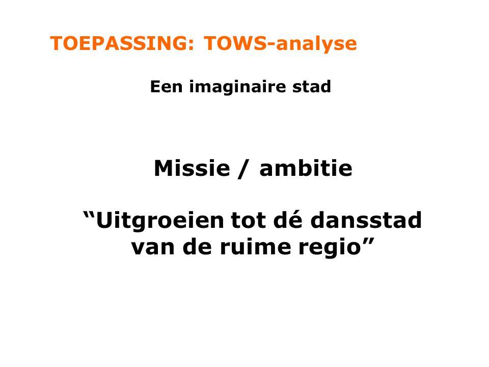 """TOEPASSING: TOWS-analyse Een imaginaire stad Missie / ambitie """"Uitgroeien tot dé dansstad van de ruime regio"""""""