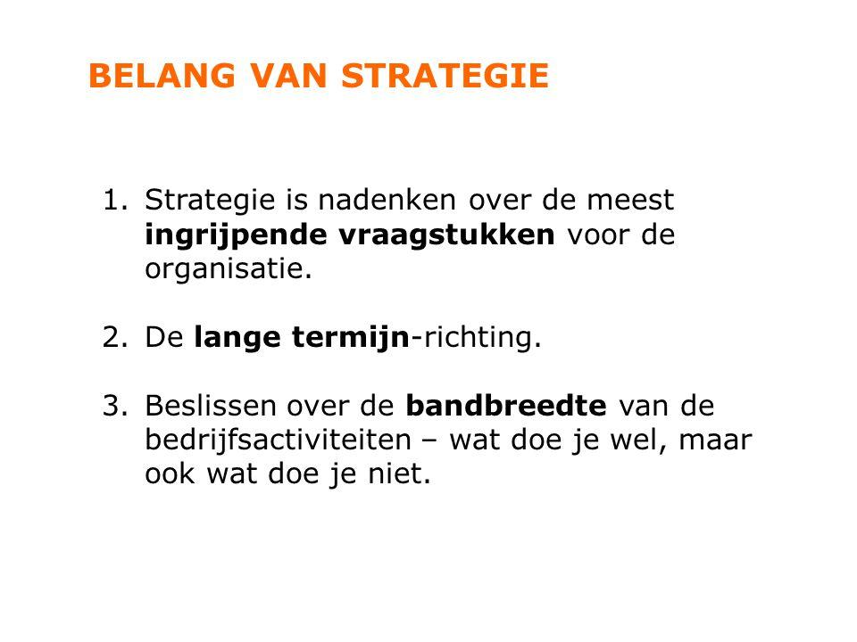 BELANG VAN STRATEGIE 1.Strategie is nadenken over de meest ingrijpende vraagstukken voor de organisatie. 2.De lange termijn-richting. 3.Beslissen over