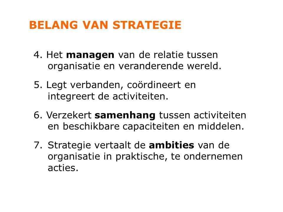 BELANG VAN STRATEGIE 4. Het managen van de relatie tussen organisatie en veranderende wereld. 5. Legt verbanden, coördineert en integreert de activite