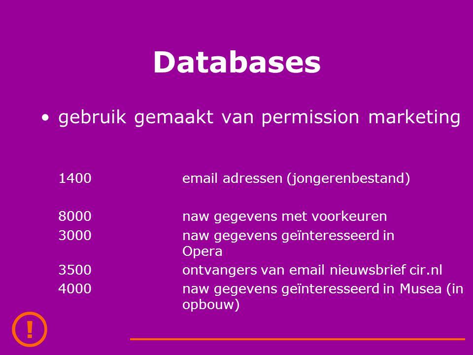 Databases gebruik gemaakt van permission marketing 1400email adressen (jongerenbestand) 8000naw gegevens met voorkeuren 3000naw gegevens geïnteresseerd in Opera 3500ontvangers van email nieuwsbrief cir.nl 4000naw gegevens geïnteresseerd in Musea (in opbouw)