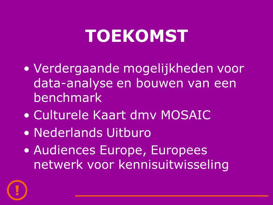 TOEKOMST Verdergaande mogelijkheden voor data-analyse en bouwen van een benchmark Culturele Kaart dmv MOSAIC Nederlands Uitburo Audiences Europe, Europees netwerk voor kennisuitwisseling