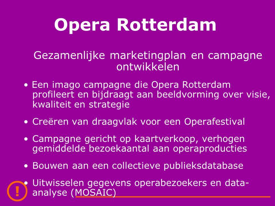 Opera Rotterdam Gezamenlijke marketingplan en campagne ontwikkelen Een imago campagne die Opera Rotterdam profileert en bijdraagt aan beeldvorming over visie, kwaliteit en strategie Creëren van draagvlak voor een Operafestival Campagne gericht op kaartverkoop, verhogen gemiddelde bezoekaantal aan operaproducties Bouwen aan een collectieve publieksdatabase Uitwisselen gegevens operabezoekers en data- analyse (MOSAIC)